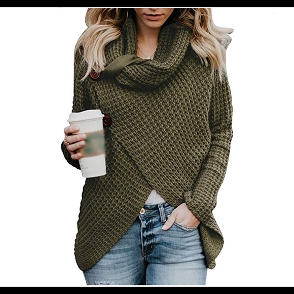 0409  Turtle Cowl Neck Chunky Pullover sweater